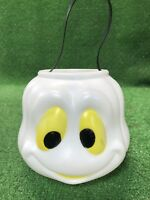 Vintage Empire Blow Mold Halloween Candy Bucket Pail Ghost Plastic Happy Ghost