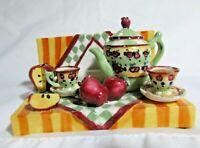 Dicksons Miniature Set w/Tea Pot Cups Saucers & Apple Slices Figurine 2002 VTG
