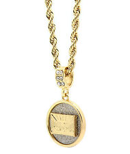 """Men Gold Plated The Last Supper Cz Pendant Hip-Hop 24"""" 4mm Rope Necklace Chain"""