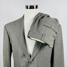 Ralph Lauren Mens 40L Suit 32 x 32 Pleated Gray Chalk Striped Wool Three Button