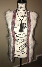 Xhiliration Furry Faux Fur Knitted Long Sleeveless Outwear Vest Ivory Sz S NWT
