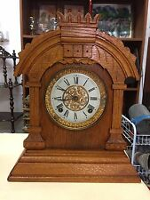 (NO26) Antique Ansonia Mantle Clock U.S.A. Carved Timber Frame American OAK
