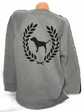 VictoriaSecret PINK Sweatshirt Crew Neck Gray Pull Over Crescent Dog Logo Size S