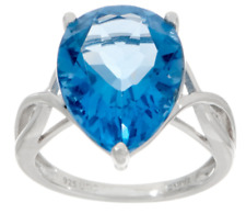 STERLING SILVER 8.85 CT PEAR COLOR CHANGING FLUORITE RING SIZE 8 QVC $99.00