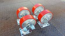 "Industrial 4x5"" 2 Fixed & 2 Swivel Brake Heavy Duty Polyurethane Castor Wheel"