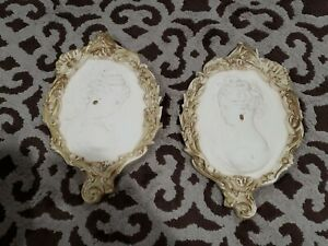 2 VINTAGE COPPERCRAFT GUILD CAMEO DECORATIVE WALL HANGING PLAQUES