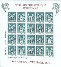 BLOC F5094 - 7 EME SALON PHILATELIQUE D'AUTOMNE 2016 - AU TYPE SAGE 20 X 1 €