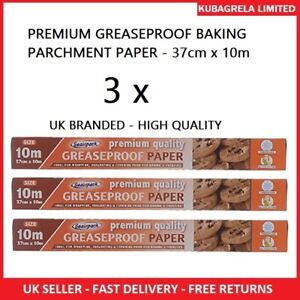 3 x PREMIUM GREASEPROOF BAKING PARCHMENT PAPER - non stick roll sheet kitchen
