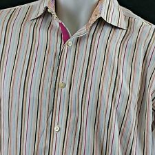 Thomas Dean Shirt Multi Color Paisley Striped Long Sleeve Flip Cuff  Large L