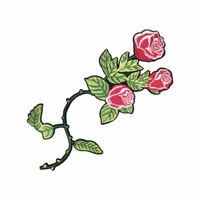 Pink Shaded Long Rose Flower (Iron On) Embroidery Applique Patch Sew Iron Badge