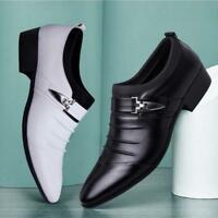 Men's Slip On Oxfords Formal Flats Casual Party Dress New Leather Business Shoes