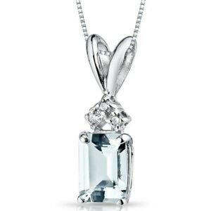 """1.00 ct Aquamarine Pendant with Diamond Accent in 14 Karat White Gold, 18"""""""