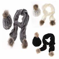 Womens Ladies Woolly Thick Knit Hat Scarf Pom Pom Women's Scarf and Hat Set UK