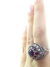 TURKISH HANDMADE JEWELRY 925 Sterling Silver Ladies Ruby Ring Size 8 R1458