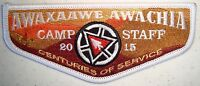OA AWAXAAWE AWACHIA 535 TRAPPER TRAILS PATCH 2015 100th CENTENNIAL STAFF FLAP