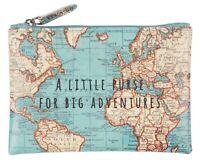 Sass & Belle Vintage Map World  Zip Coin Holder Purse Travel Gift Christmas