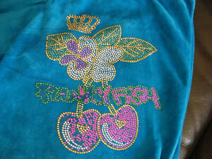 PUNKYFISH VELOUR TRACKSUIT BOTTOMS SIZE XL ELECTRIC BLUE WITH EMBELLISHMENT