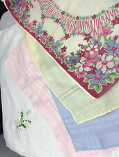 5 Ladies vintage pocket Cotton  Clean Floral Colours Embroidered Plain