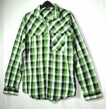 GREEN BLACK WHITE CHECK GENTS CASUAL SHIRT SIZE M BENCH COTTON