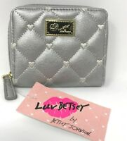 Betsey Johnson Silver Bifold Wallet Zip Around Quilted Hearts MSRP $38
