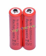 2x AA 2A 3000mAh 1.2V Ni-Mh Red Color Rechargeable Battery for RC MP3 Camera