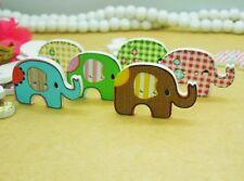 60pcs 29*19mm Random Mix Cute Elephant Flatback Cartoon Wood Buttons Scrapbook