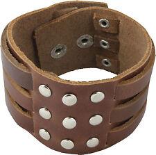 Breites Leder Armband Nietenarmband Lederarmband mit  Nieten braun S-T04