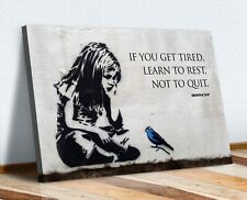 BANKSY GIRL BLUE BIRD QUOTE LEARN TO REST CANVAS WALL ART PRINT ARTWORK GRAFFITI