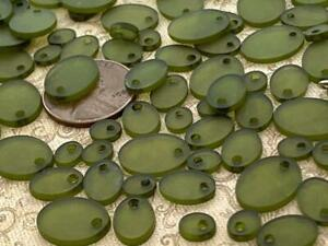 Vintage Frosted Translucent Olive Green Plastic Drop Beads Charms Mix 80