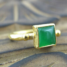 Handmade Turkish Designer Square Jade Ring 24K Gold Over Sterling Silver