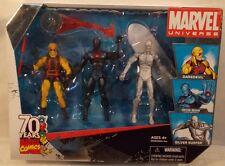 "Marvel Universe 3 3/4"" - TRU Yellow Daredevil, Stealth Iron Man & Silver Surfer"
