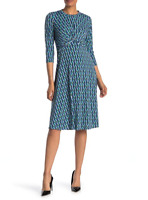 Donna Morgan Twist Front Printed Dress 3/4 Sleeves Blue Green Geometric Print