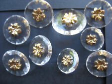 15-21mm Faux Cut Glass Gold Floral Centre Vintage Coat Sewing Buttons Set  9