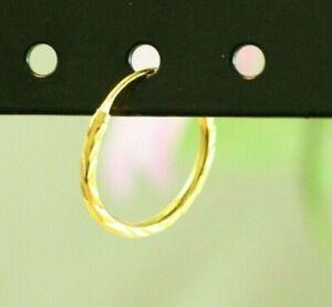 22K Dp Thai Baht Yellow Gold ~ CLASSIC DIAMOND CUT INFINITY HOOP EARRINGS