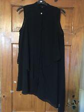 River Island Black Chiffon Layered Asymmetric Hem Shirt Tunic/Dress Size 10