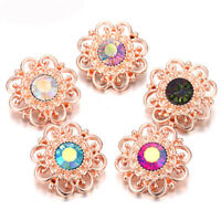 5X Pretty Crystal Chunk Charm Snap Button Fit 18mm Drill Noosa Jewelry Gift N06