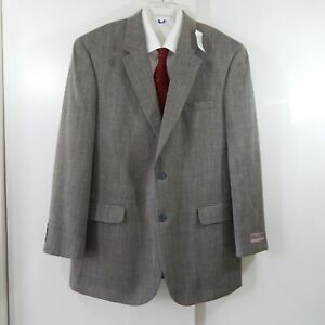 NEW $450 JOS A BANK jacket blazer sport coat 100% wool 2 button black long 44L