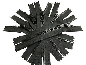"YKK ® #5 Vislon Molded Plastic Zippers Closed Bottom - 5″ to 36"" Color Black"