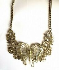 STATEMENT BUTTERFLY COLLAR NECKLACE GOLD  VINTAGE RETRO COSTUME JEWELLERY UK