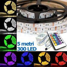 STRISCIA A LED SMD 5050 RGB IP65 5 METRI BOBINA CON ALIMENTATORE E TELECOMANDO
