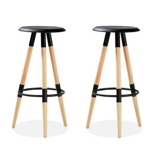 2 x Breakfast Bar Stools Bar Kitchen Barstools With Wooden Legs Dining Chair UK