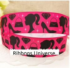"1 meter, 25mm 1""  barbie printed Grosgrain ribbon Polyester"