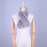 Womens Real Rex Rabbit Fur Scarves Natural Fur Scarf Wraps Winter Soft Mufflers