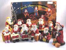 Boxed Set,12 Sm. Resin Santa Figures Christmas Decoration Vintage Ornament