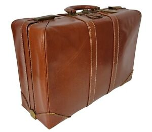 Vintage Olympic Luggage Corp Tolex Brown Vinyl Carry On Travel Suitcase No Key