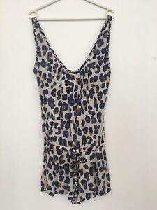 Diane Von Furstenberg SOLEIL Jumpsuit Romper Playsuit XS-S  purple Leopard Print