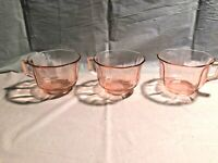 3 Pink Octagon Depression Glass Coffee Cups