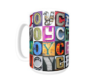 Cup featuring the name in photos of sign letters NICHOLAS Coffee Mug