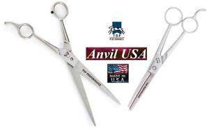 US MADE TP/ANVIL PRO STAINLESS STEEL STRAIGHT&THINNING SHEAR Scissor GROOMER SET