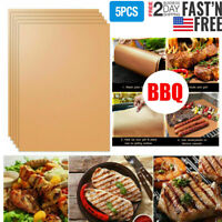 Copper BBQ Grill Mat 5Pcs Non Stick Barbecue Baking Cooking Sheet Liner Pads New